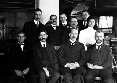First staff members of the Geophysical Laboratory. Front row: G. R. Hoffman, E. T. Allen, A. L. Day (director), and W. P. White. Back row: W. Beck, C. W. H. Ellis, F. E. Wright, B. D. Chamberlain, J. K. Clement, and A. F. Susan. Photograph by E. S. Shepherd, 1906.